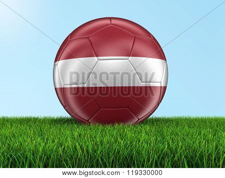 Soccer football with Latvian flag. Image with clipping path