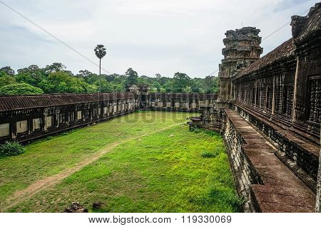 the backyard of the main temple in the temple complex Angkor Wat. The ancient stone temple of the Khmer civilization in the lost city