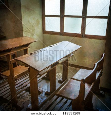 Vintage school classroom from early twenty century