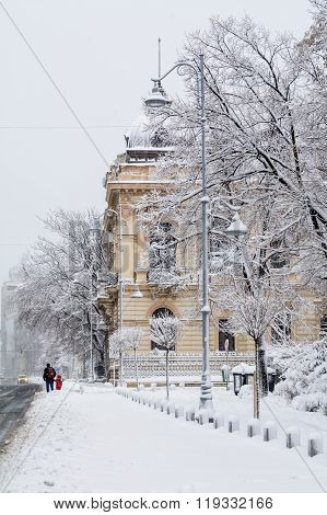 Bucharest, Romania - January 17: Calea Victoriei Street On January 17, 2016 In Bucharest, Romania. B