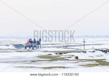 Calugareni, Romania - January 17: Calugareni On January 17, 2016 In Calugareni Giurgiu.  Horizontal