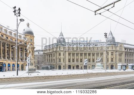 Bucharest, Romania - January 17: University Square On January 17, 2016 In Bucharest, Romania. Buchar