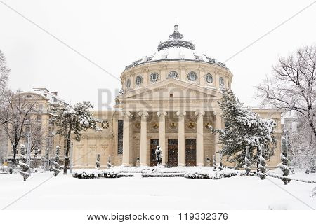 Bucharest, Romania - January 17: University Square On January 17, 2016 In Bucharest, Romania. The Ro