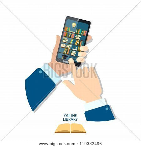 Online Mobile Library Mobile App Library Shelf In Smart Phone Tablet