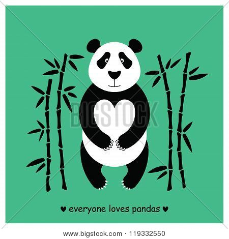 Flat illustration with panda surrounded by bamboo. Perfect for posters invitations post cards. Made in vector easy recolor.
