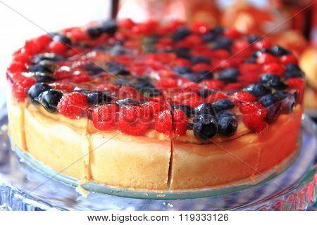 Raspberries And Blueberries Cake