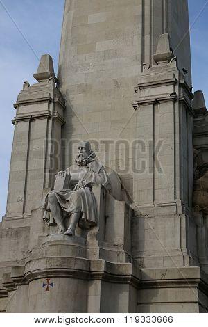 Monument Of Cervantes On Plaza De Espana In Madrid, Spain.