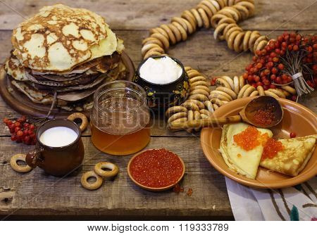 Still-life With Pancakes, Caviar, A Guelder-rose, Sour Cream And Honey