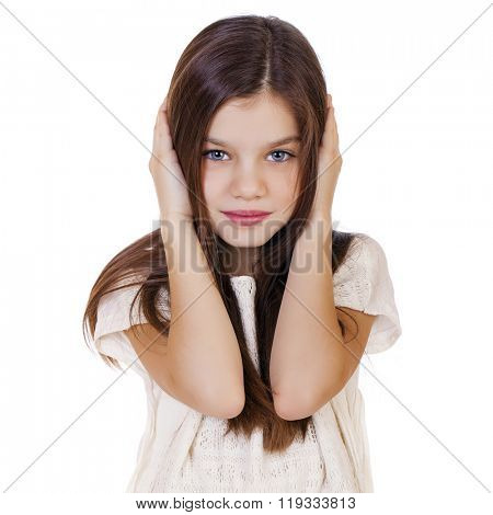 Portrait of a charming little girl covering ears with hands, isolated on white background