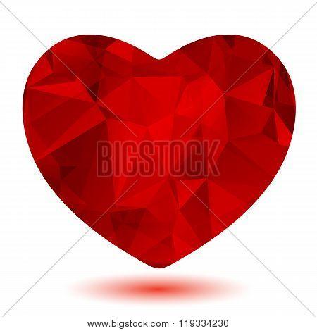 scarlet polygonal heart
