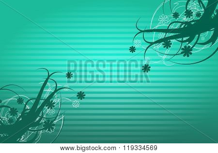 Turquoise Background With Ornaments