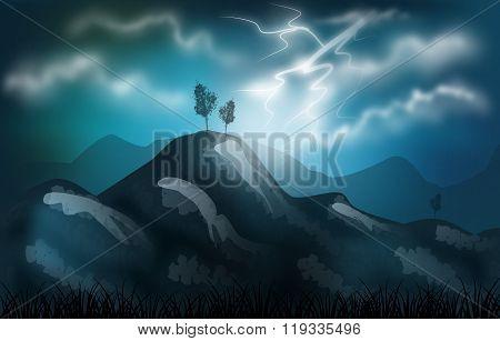 Stormy Landscape Illustration