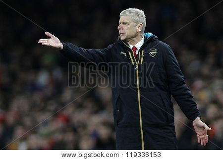 LONDON, ENGLAND - FEBRUARY 23:Arsene Wenger manager of Arsenal  during the Champions League match between Arsenal and Barcelona at The Emirates Stadium
