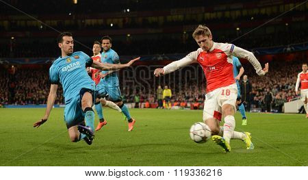 LONDON, ENGLAND - FEBRUARY 23: Nacho Monreal of Arsenal during the Champions League match between Arsenal and Barcelona at The Emirates Stadium