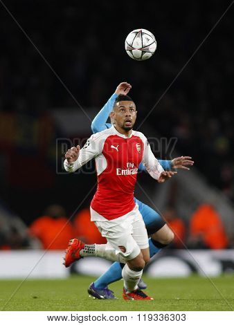 LONDON, ENGLAND - FEBRUARY 23: Francis Coquelin of Arsenal during the Champions League match between Arsenal and Barcelona at The Emirates Stadium