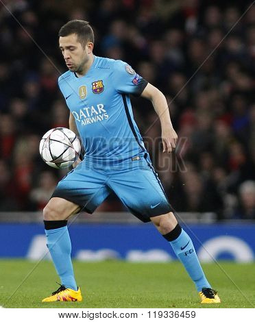 LONDON, ENGLAND - FEBRUARY 23: Jordi Alba of Barcelona during the Champions League match between Arsenal and Barcelona at The Emirates Stadium