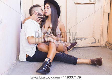 Caressing Couple