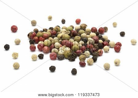 Mixed color pepper on white isolated backgound