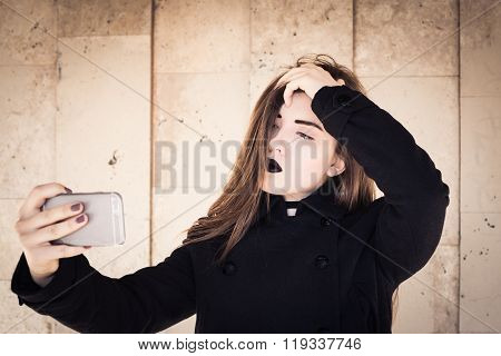 Stylish Teenage Girl With Black Lipstick