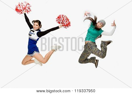 Cheerleader and skater