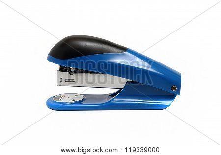 Big Blue Office Stapler On A White Background