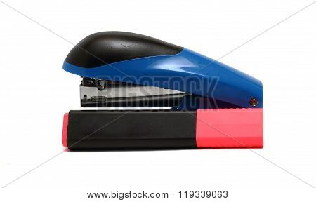 Large Office Stapler And A Marker On A White Background