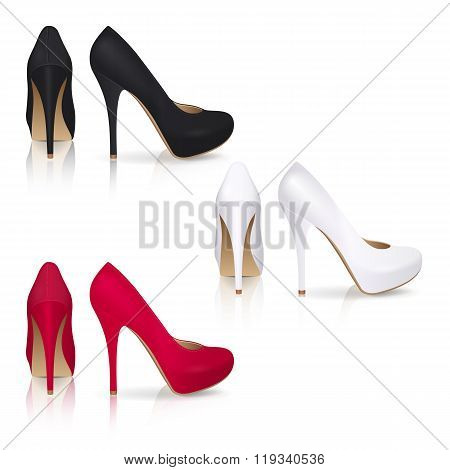 High-heeled Shoes In Black, White And Red