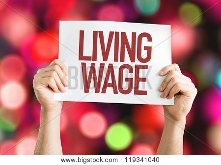 Living Wage placard with bokeh background