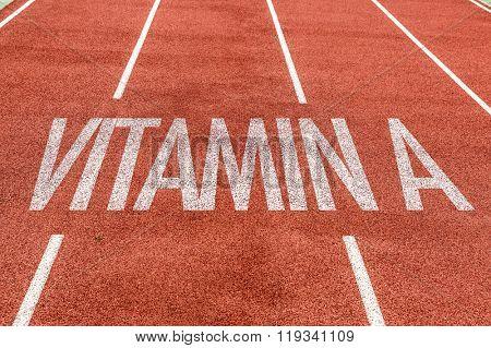 Vitamin A written on running track