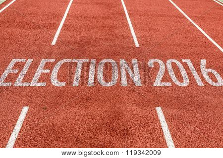 Election 2016 written on running track