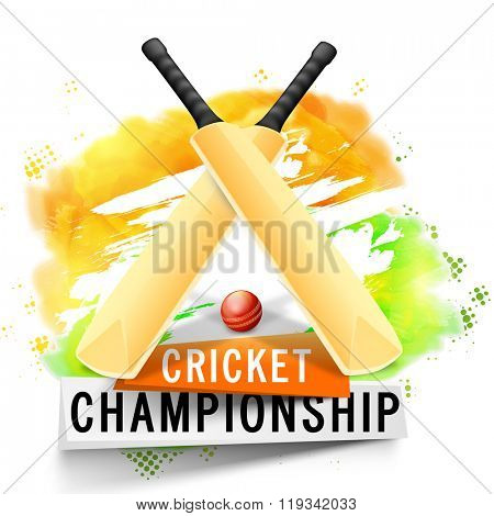 Creative glossy Bats with Ball on Indian National Tricolor background for Cricket Championship concept.
