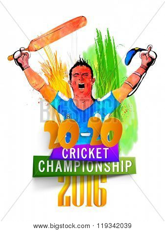 Creative illustration of a player in winning pose on saffron and green color feathers decorated background for Cricket Championship concept.