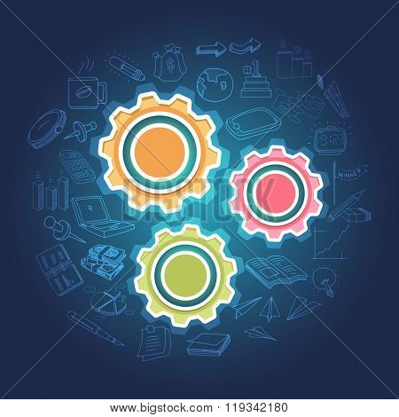 Colorful Cogwheels with different Infographic elements on glossy blue background for Business concept.