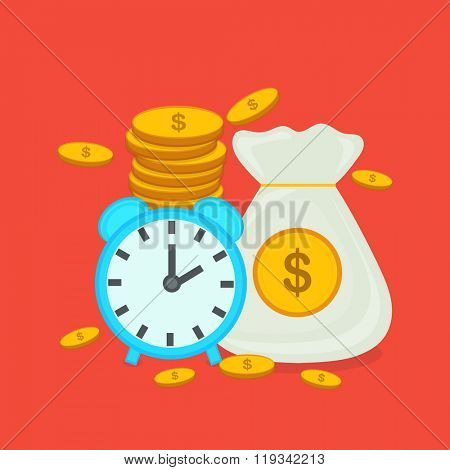 Time is Money concept with creative clock showing time management and currencies showing save money.