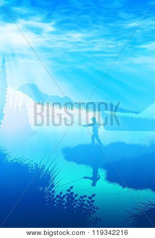 Blue illustration of an angler casting in a wilderness landscape