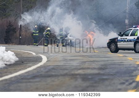 Car Fire Near Horseneck Beach