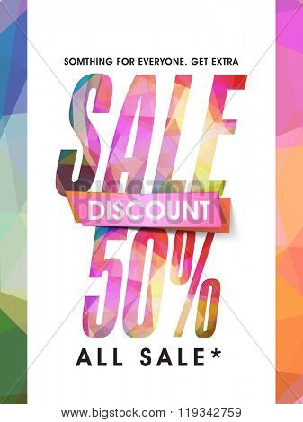 Colorful Sale Flyer, Banner or Pamphlet with 50% discount offer.