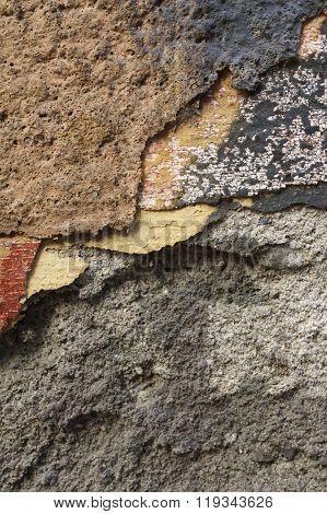 Close Up Of Crumbling  Wall With Layers Of Peeled Paint 8