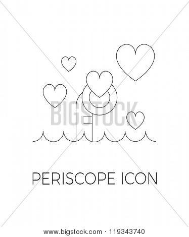 Periscope simple line vector icon.