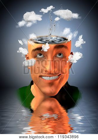 Man with water in head and clouds