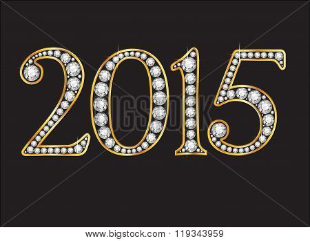 2015 Diamond Jeweled Font With Gold Channels