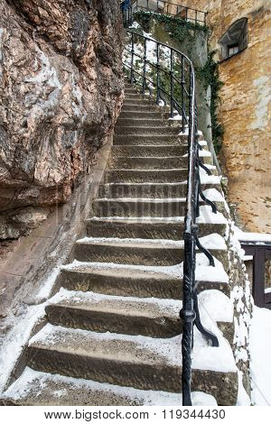 stairway in old castle at winter time
