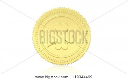 Golden coin with clover leaf, isolated on white background.