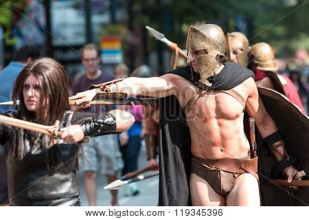 Man Dressed As Spartan Warrior Walks In Dragon Con Parade