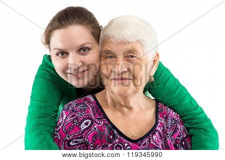 Smiling grandma and granddaughter