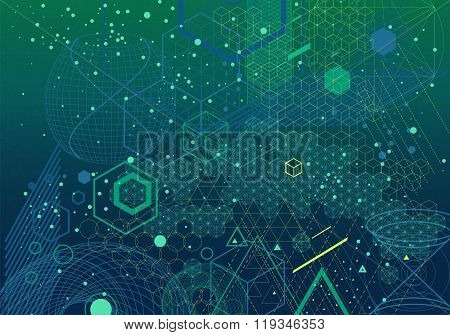 Sacred Geometry Symbols And Elements Background