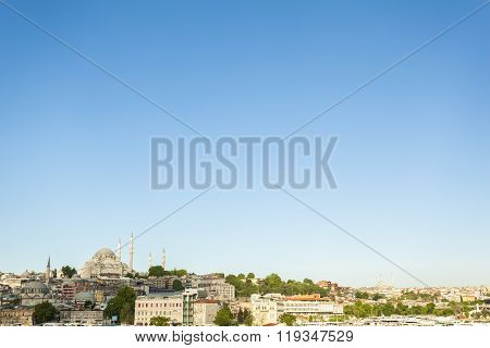 Wide cityscape view of Hagia Sofia mosque, other major mosques