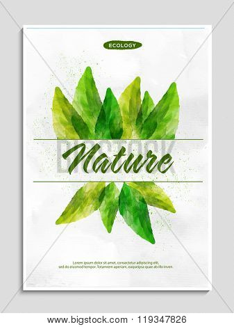 Stylish Flyer, Banner or Pamphlet with creative green leaves for Save Nature concept.