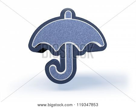 Umbrella Shopping Icon In Blueish Denim Look