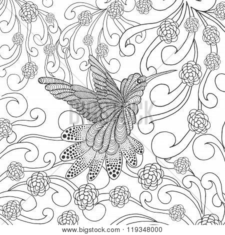 Zentangle stylized hummingbird in flower garden